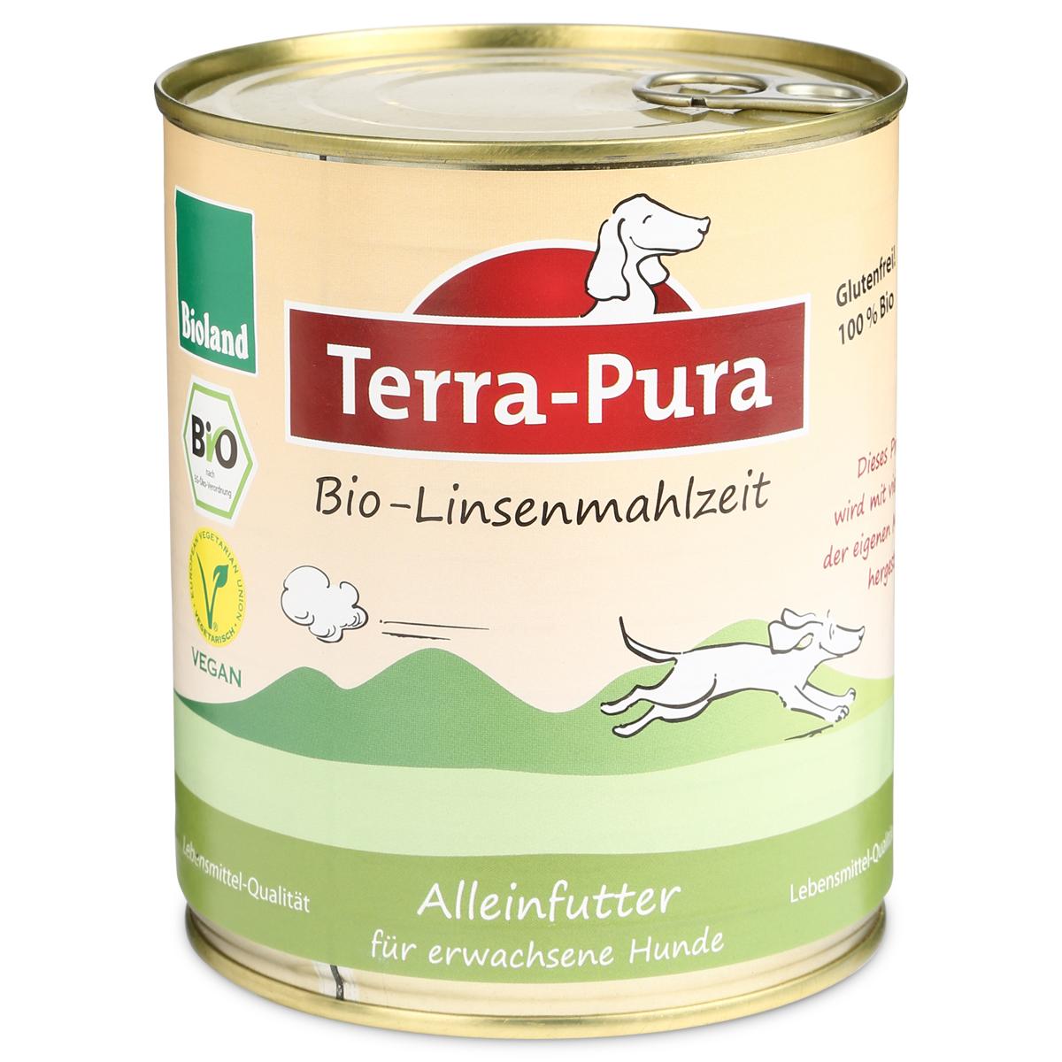 Terra Pura Hundefutter Bio-Linsenmahlzeit Vegan 6×750g