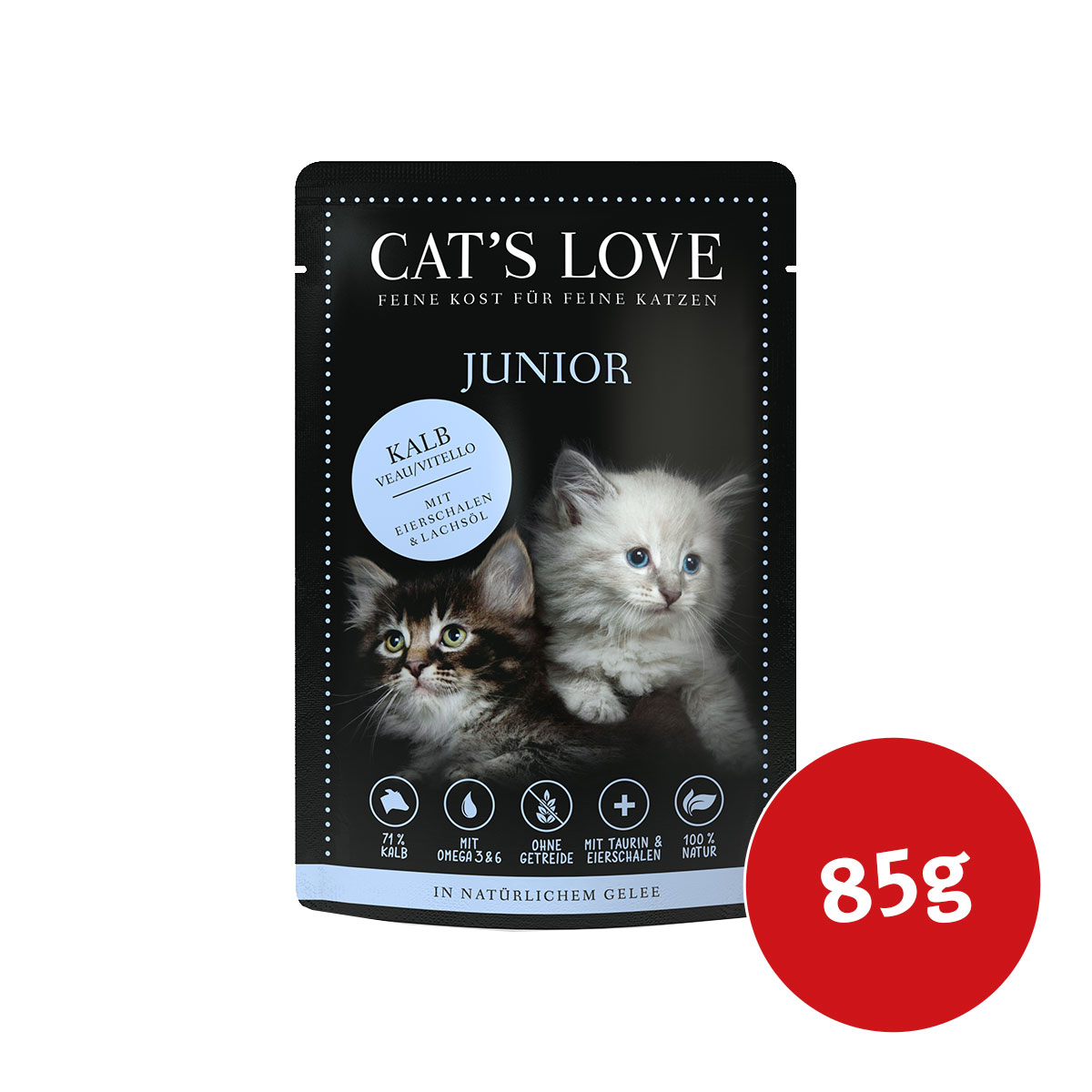 cat 39 s love nassfutter junior kalb mit eierschalen lachs l. Black Bedroom Furniture Sets. Home Design Ideas