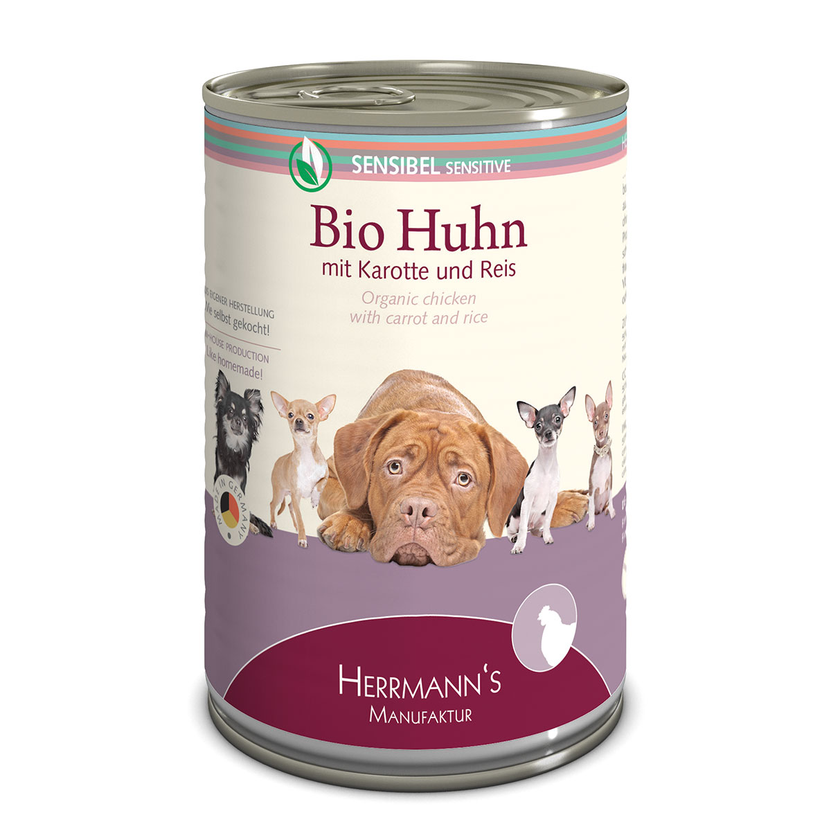 herrmanns bio hundefutter huhn mit karotte und reis 12x400g. Black Bedroom Furniture Sets. Home Design Ideas