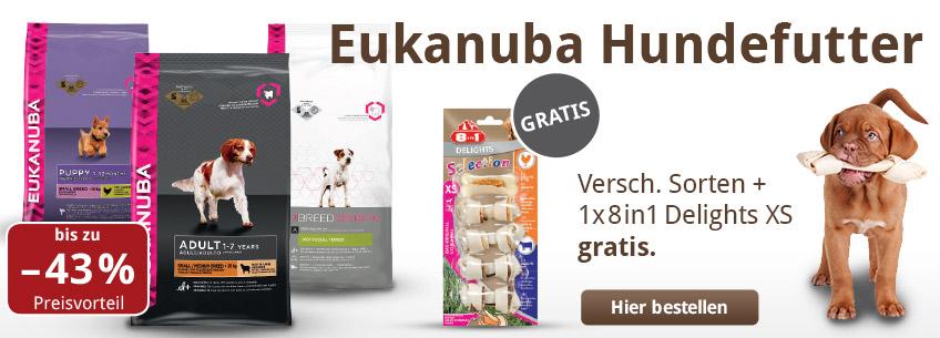 Aus der Werbung: bei Eukanuba Hundefutter bis zu 43% sparen und 8in1 Delights XS gratis!