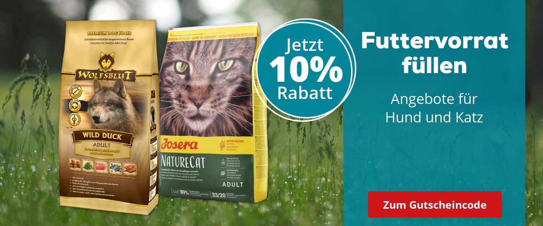 10% auf Futter auf bereits reduziertes Hunde- & Katzenfutter