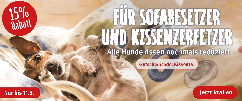 15% Rabatt auf alle Hundekissen