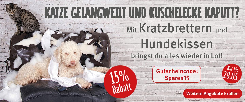 15% Rabatt auf Kratzbretter und Hundekissen