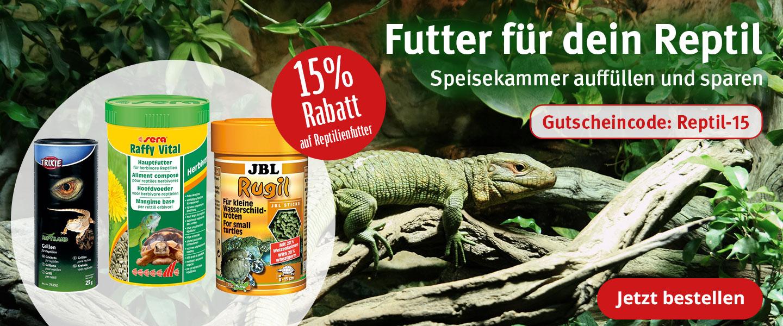 15% Rabatt auf Reptilienfutter