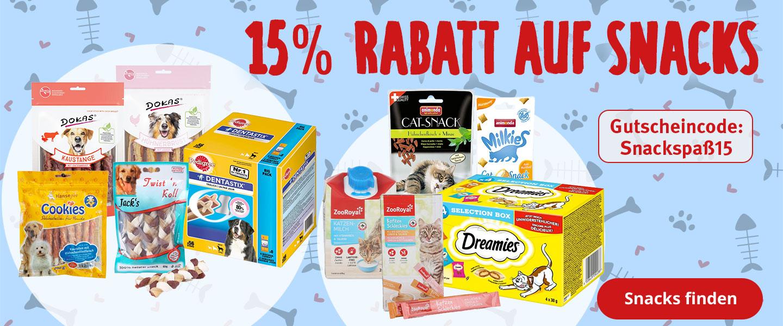 15% Rabatt auf Hunde- und Katzensnacks