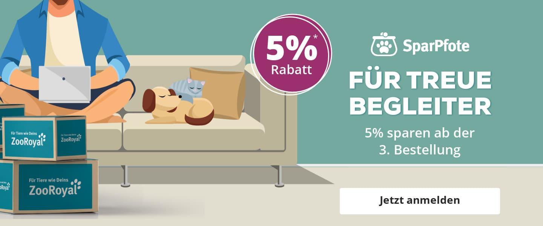 Treue will belohnt sein! 5% Rabatt sichern mit der ZooRoyal Sparpfote