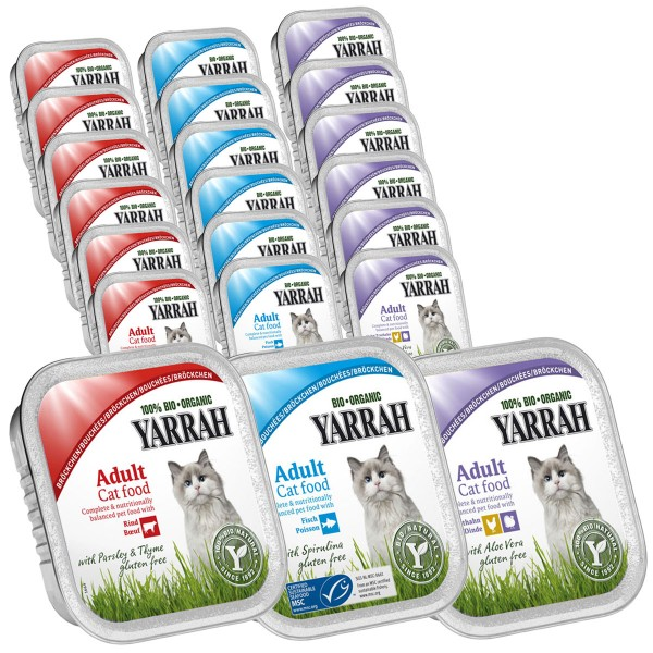 Yarrah Katzenfutter Bio Bröckchen Multipack Fisch Geflügel Rind 48x100g