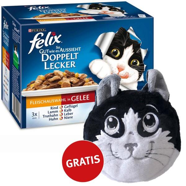 Felix Multipack doppelt lecker Fleischauswahl in Gelee 48x100g plus gratis Katzenkissen