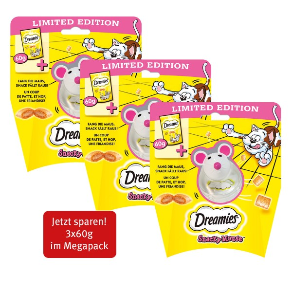 Dreamies Snacky Mouse mit Käsesnacks 60g im 3er Pack