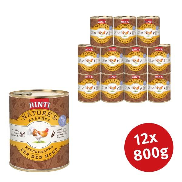 Rinti Nassfutter Nature's Balance mit Huhn, Reis und Ei 800g
