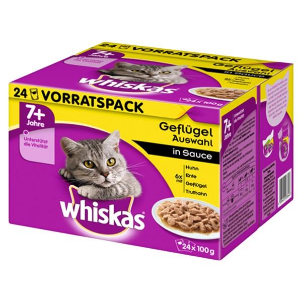 Whiskas 24er Multipack 7+ Geflügelauswahl in Sauce 24x100g