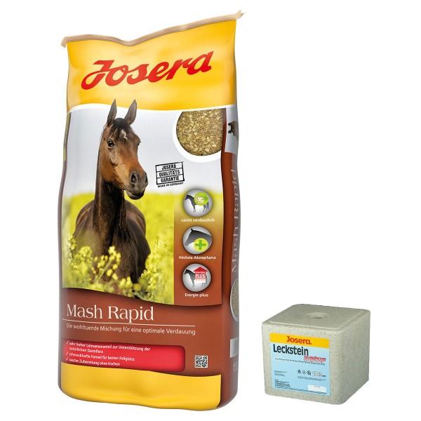 Josera Pferdefutter Mash Rapid 15kg + Leckstein natur 10kg GRATIS