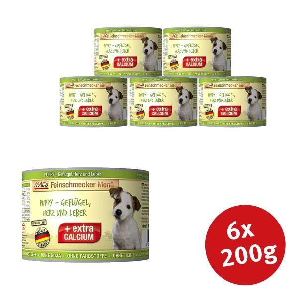 MACs Dog Hundefutter Feinschmecker Menü PUPPY- Geflügel, Herz und Leber - 6x200g - Preisvergleich