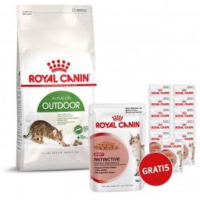 Royal Canin Outdoor 10 kg plus Royal Canin Katzenfutter Instinctive in Sosse 12x85g GRATIS