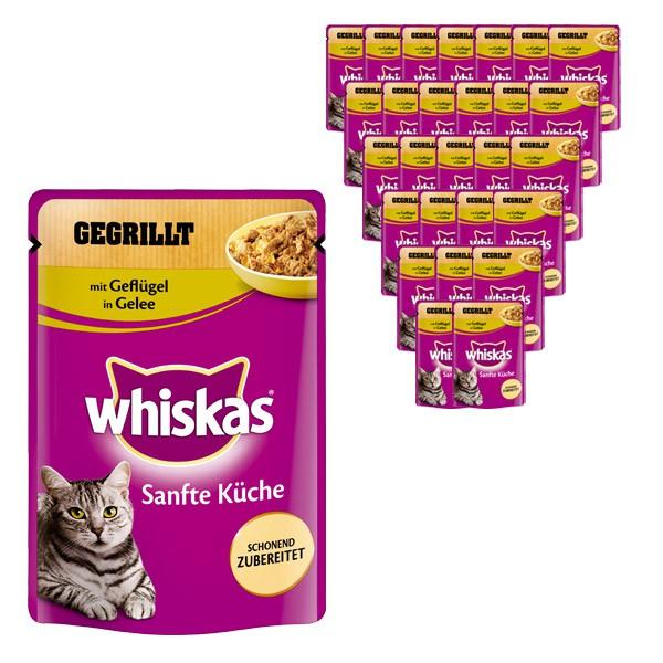 Whiskas Katzenfutter Sanfte Küche mit Geflügel in Gelee