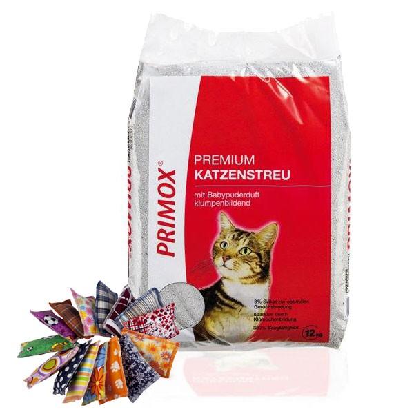 Primox Premium Katzenstreu mit Babypuderduft 12kg - Gratis Schmusekissen