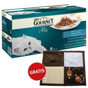 GOURMET Perle Erlesene Streifen mit Huhn, Rind, Lachs und Kaninchen 60x85g + Spielematte gratis