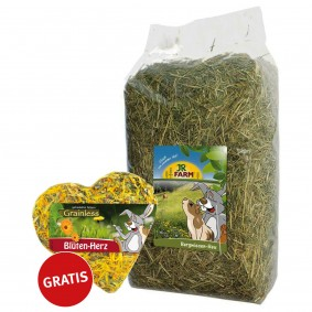 JR Farm Bergwiesen-Heu 2,5kg Plus JR Farm Grainless Blüten-Herz 90g Gratis