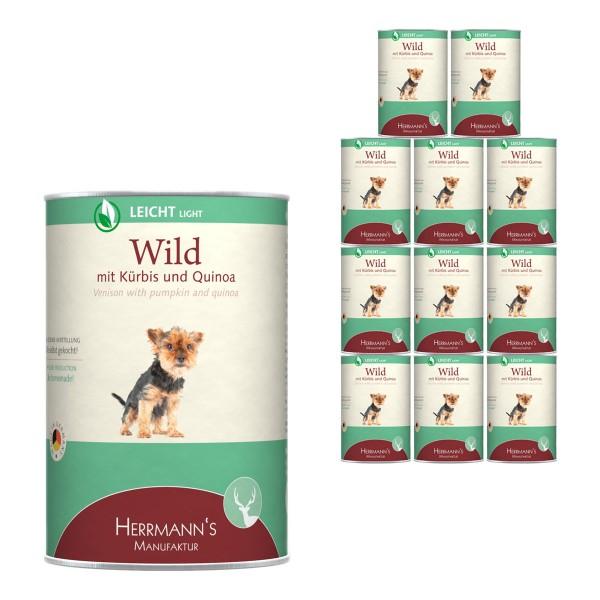 Herrmanns Hundefutter Wild mit Bio Kürbis und Bio Quinoa 12x400g