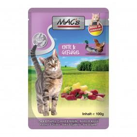 MAC's Cat Katzenfutter Pouchpack Ente, Geflügel und Apfel 12x100g