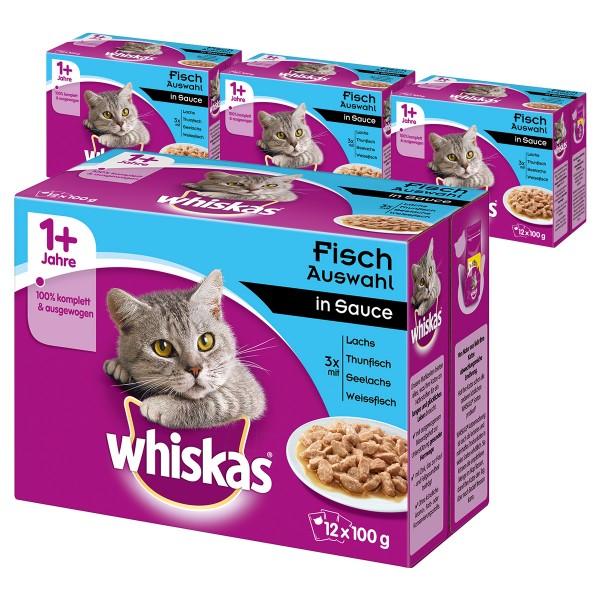 Whiskas Adult 1+ Fischauswahl in Sauce 36+12 Gratis (48x100g)