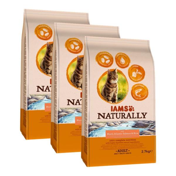 IAMS Naturally Katzenfutter Trockenfutter Adult 3x2,7kg