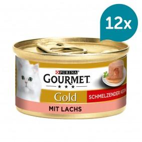 GOURMET Gold Schmelzender Kern Katzennassfutter mit Lachs