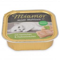 Miamor Katzenfutter milde Mahlzeit Senior Kaninchen und Huhnstücke