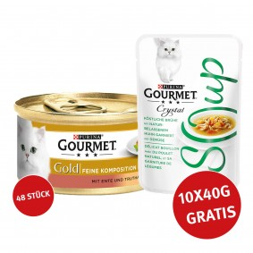 Gourmet Gold Feine Komposition Ente & Truthahn 48x85g + Crystal Soup Huhn und Gemüse 10x40g GRATIS!
