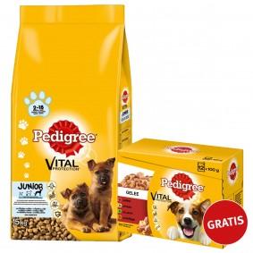 Pedigree Vital Junior Maxi Huhn & Reis 15kg plus Multipack Gelee 12x100g GRATIS