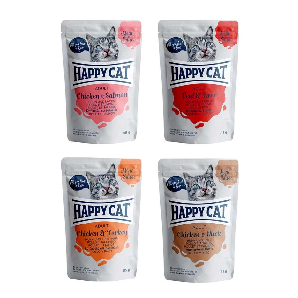Happy Cat Pouches Meat in Sauce Mixpaket 24x85g