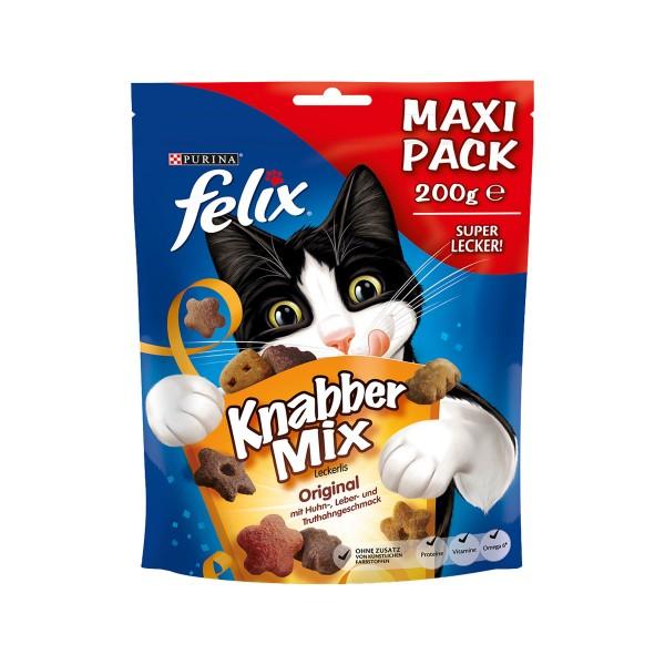 FELIX KnabberMix Original Huhn, Leber, Truthahn Katzensnacks 200g