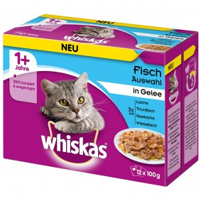 Whiskas Adult 1+ Fischauswahl in Gelee 12x100g