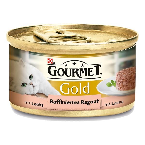 Gourmet Katzenfutter Gold Raffiniertes Ragout Lachs 12x85g