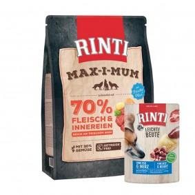 Rinti Max-i-Mum Rind 1kg + Rinti Leichte Beute Rind + Geflügelherzen 10x400g Sparset