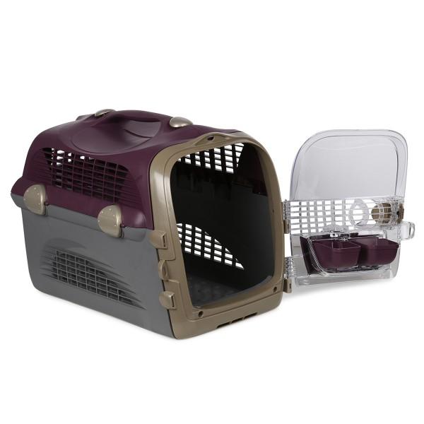 Catit Transportbox Pet Cargo Cabrio - weinrot-grau
