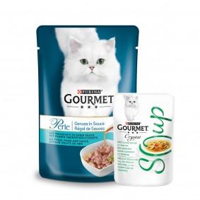 Gourmet Perle Genuss in Sauce mit Thunfisch 24x85g +  6xCrystal Soup mit Huhn & Gemüse 40g GRATIS