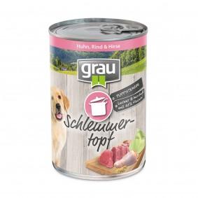 Grau Schlemmertopf Puppy/Junior Huhn, Rind & Hirse