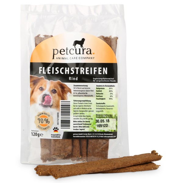 petcura Hundesnack Fleischstreifen 120g - Rind