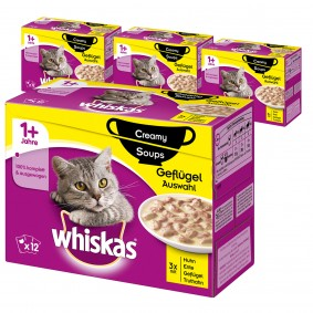 Whiskas Adult 1+ Creamy Soups Geflügelauswahl 36+12 Gratis (48x85g)