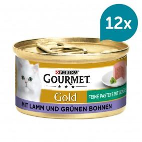 GOURMET Gold Feine Pastete Katzennassfutter mit Lamm & Grünen Bohnen