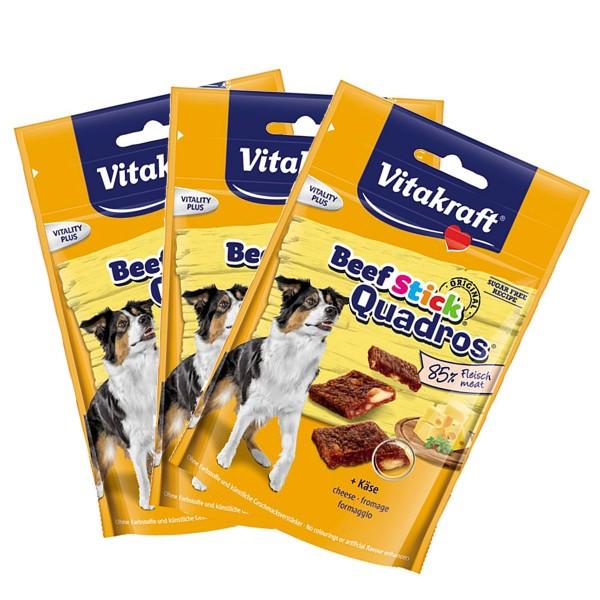 Vitakraft Hundesnack Beef-Stick Quadros Käse 3er Pack