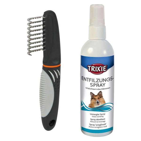 Trixie Fell-Entfilzer für Hund und Katzen + Entfilzungsspray
