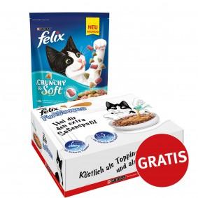 Felix Crunchy & Soft mit Thunfisch, Seelachs und Gemüsenote 4x950g plus FunSauces Mischpaket gratis