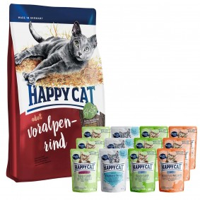 Happy Cat Supreme Voralpen-Rind 10kg + Happy Cat Mixpaket 12x85g