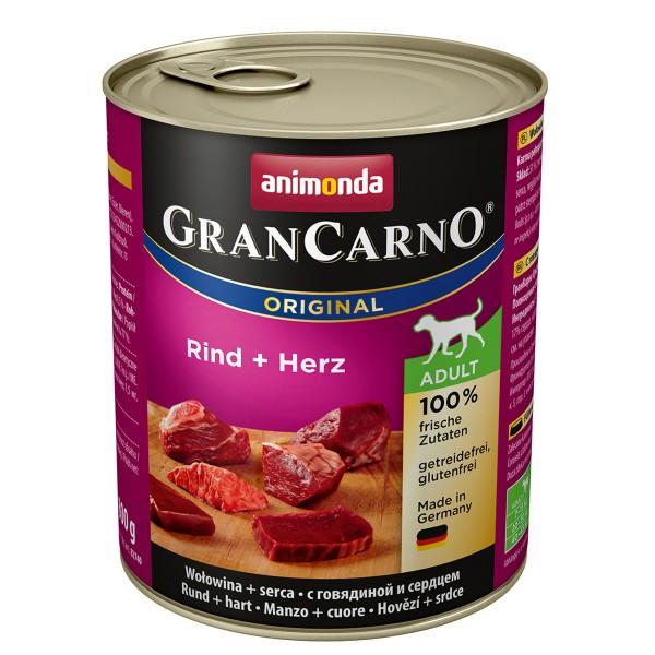 Animonda Hunde-Nassfutter GranCarno Adult Rind und Herz 6x800g