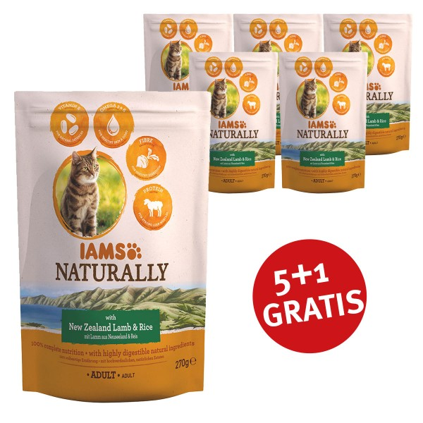 IAMS 5+1 Gratis Naturally Adult Lamm & Reis270g