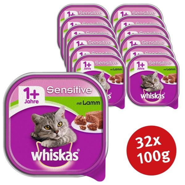 Whiskas Katzenfutter 1+ Sensitive mit Lamm 32x100g