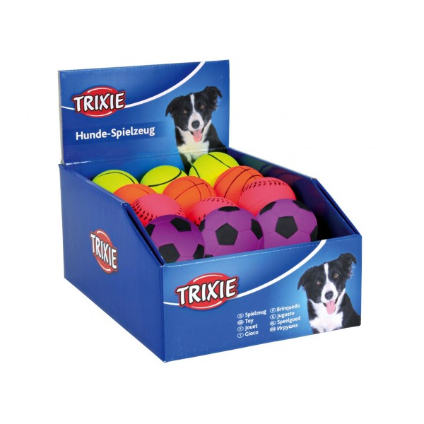 Trixie 6 Bälle aus Moosgummi ø 6 cm - Neonfarbe