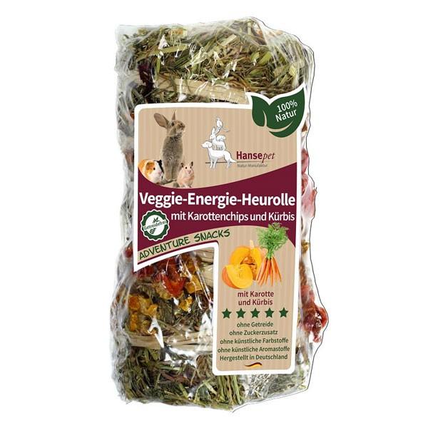 Hansepet Kleintierfutter Veggie-Energie-Heurolle mit Karottenchips & Kürbis 200g